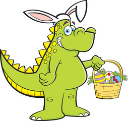 Cartoon illustration of a dinosaur wearing rabbit ears and holding an Easter basket.