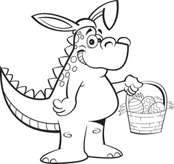 Black and white illustration of a dinosaur wearing rabbit ears and holding an Easter basket.