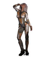 Sexy Female Science Fiction Character 3D Rendering