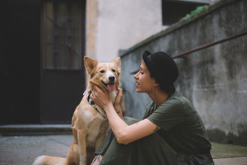 Hipster Woman and a Cute Dog