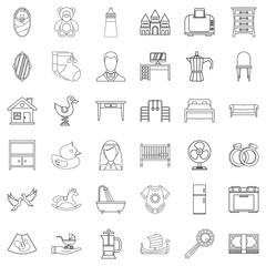 Grandparent icons set, outline style