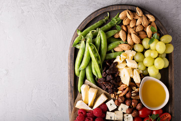 Cheese and vegetables board