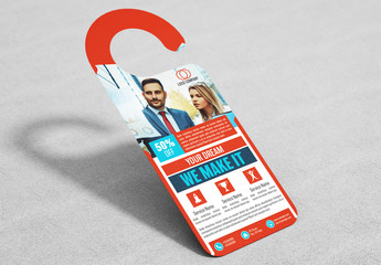 Business Door Hanger Layout with Red Accents 1