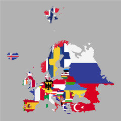 Territory of Europe with country flags on a grey background