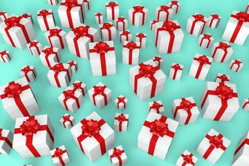 jede menge geschenke mit roter schleife