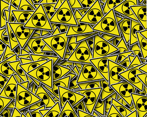 Seamless pattern, sign radiation symbol