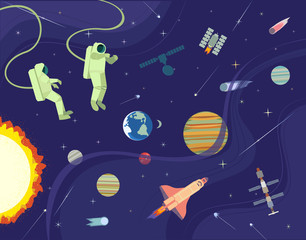 Astronaut in outerspace. Colorful abstract cartoon. Shuttle rocket, satellite in cosmos. Moon, Earth planet. Stars, comet, metheorite, space station background Universe banner Vector illustration