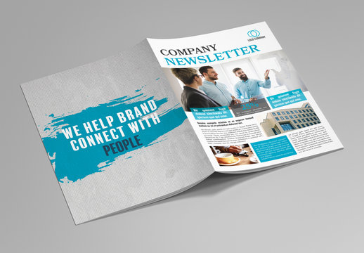 Newsletter Layout with Blue Accents and Texture Elements 1