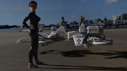Female Science Fiction Character With Space Craft On The Beach 3D Rendering