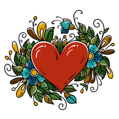 Tattoo red heart decorated ribbon, blue flowers, leaves, curls. Holiday illustration for Valentines Day. Old school
