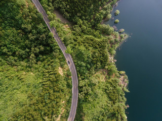 Aerial view of road passing through forest