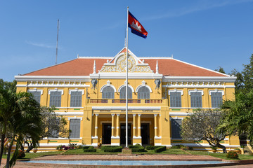 Fench colonial governor mansion in Battambang, Cambodia