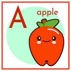 Cartoon Fruit Alphabet Flashcard. A is for Apple. Flat vector illustration EPS
