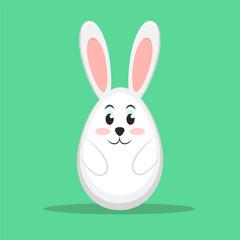Easter rabbit on green background, stock vector illustration, eps 10