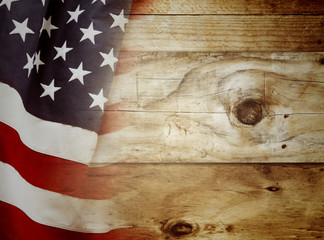 American flag on boards