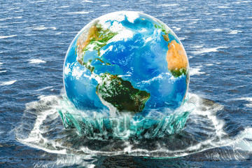 Earth Globe in the water. Save the world concept, 3D rendering