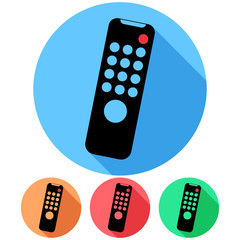 Circular, flat tv remote (tilted to the right) icon. Four variations. Isolated on white
