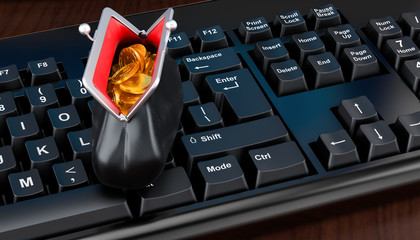 E-banking, transfer concept. Computer keyboard with purse full of golden coins. 3D rendering