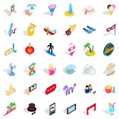 Shindig icons set, isometric style
