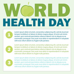 World health day card. Vector illustration with green apple and text