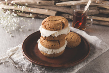 homemade cookies with ice cream sandwich