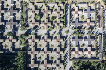 Cemetery. Aerial view.