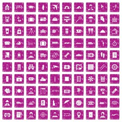 100 passport icons set grunge pink