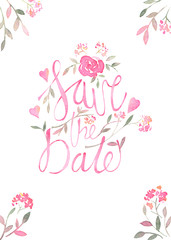Save the date - Romantic invitation card with watercolor floral elements