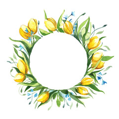 round frame bouquet of tulips isolate on white background