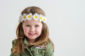 Girl with daisy headband