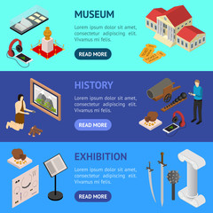 Museum Exhibits Galleries Banner Horizontal Set Isometric View. Vector