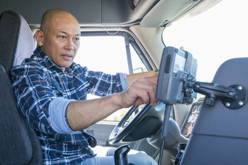 Truck driver using GPS