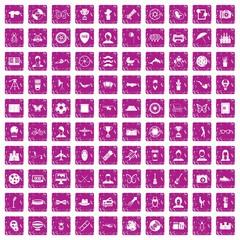 100 photo icons set grunge pink