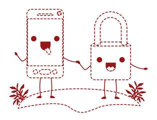 smartphone and padlock kawaii character vector illustration design