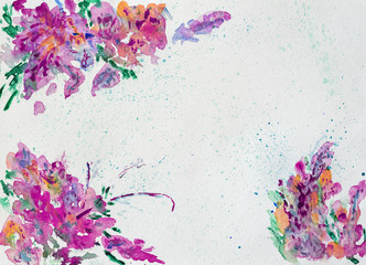 Colorful flowers border for text or banner, formed by hand painted with bright blots, splashes of watercolor on paper. Abstract background
