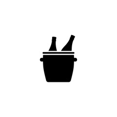 Bucket with Ice and Champagne Bottles vector icon. Simple flat symbol on white background