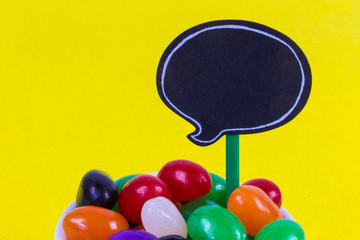 Jelly Beans with blank speech bubble