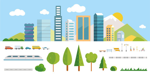 City constructor vector illustrations. Elements for creating your own town.