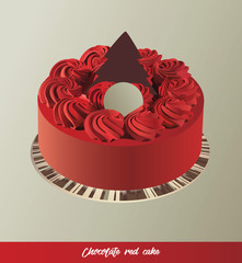 eps Vector image: Chocolate red cake
