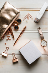 rose gold desktop accessories