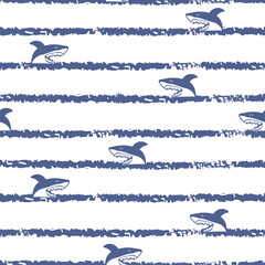 Striped seamless cartoon sharks pattern. Vector sea background.