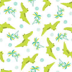 Seamless cartoon crocodiles pattern. Vector background with alligators and palms for kids design.
