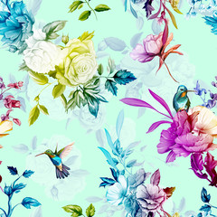 Flowers. Wild roses, rose, with lily of the valley and two hummingbird on pastel background. Seamless pattern. Watercolor. Hand drawn. Vector - stock