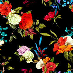 Poppy, wild rose, cornflowers, lily of the valley with leaves on black. Seamless background pattern. Watercolor, hand drawn. Vector stock