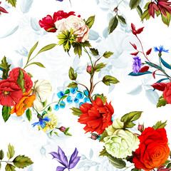 Poppy, wild rose, cornflowers, lily of the valley with leaves on white. Seamless background pattern. Watercolor, hand drawn. Vector stock