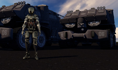 Robot Standing Guard Over Space Transporters 3D Render
