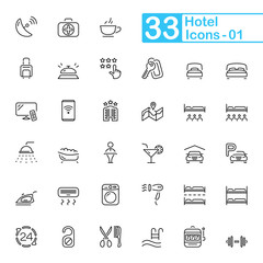 Hotel and hotel services outline icons