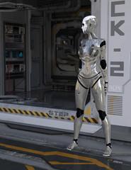 Space Ship Crew Quarters with Alien Traveler Science Fiction 3D Render