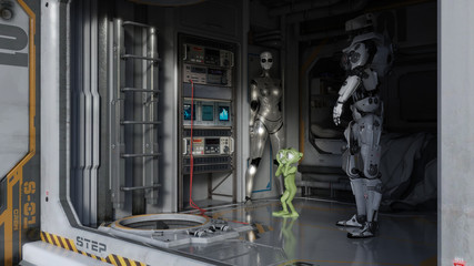 Space Ship Crew Quarters with Alien Traveler Science Fiction 3D Render