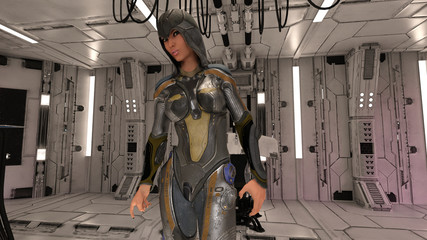 Space Ship with Female Travelers Science Fiction 3D Render